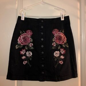 Pacsun Black Embroidered Rose Skirt